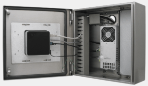 Intel NUC montato all'interno di un enclosure per thin client di Hope Industrial