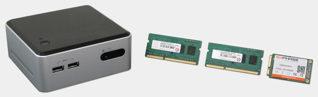 Intel NUC con memoria Transcend e disco rigido a stato solido Emphase