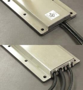 Opzioni di piastre di copertura per uscita cavi NEMA 2 (IP22) (in alto) e NEMA 4/4X (IP65/66) (in basso)