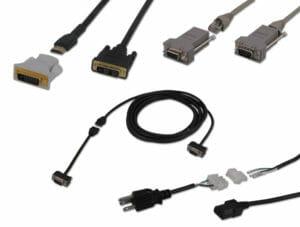 Cavi breakout con canalina (nell'illustrazione DVI, seriale, VGA e alimentazione)