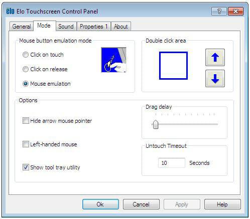 Proprietà dell'Elo Touchscreen Control Panel