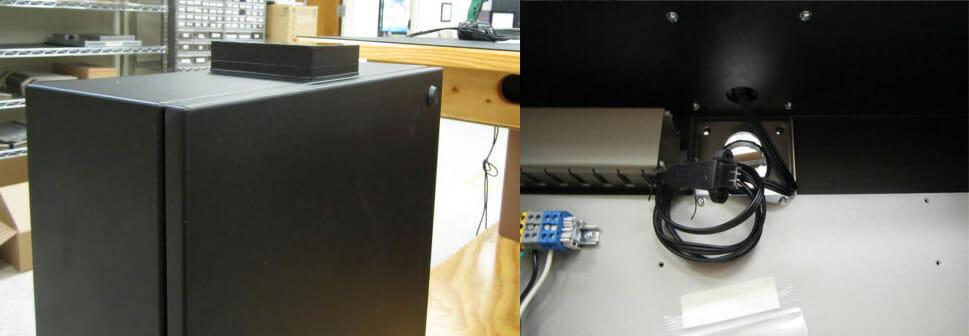 Viste esterne e interne della nostra soluzione di enclosure con radome WiFi