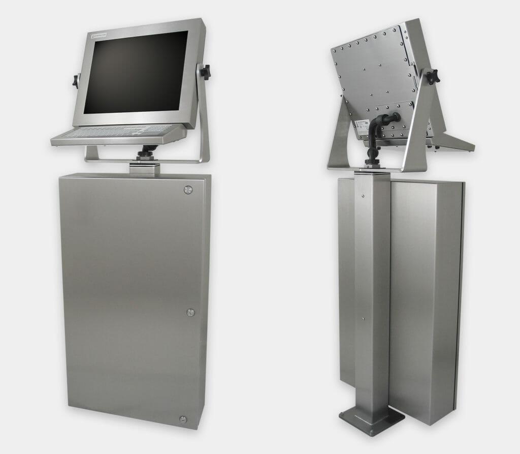 Enclosure industriale per PC commerciali / industriali, veduta anteriore e posteriore