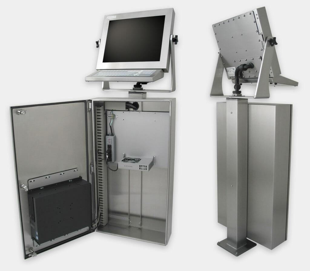 Enclosure industriale per PC commerciali / industriali con kit di raffreddamento generico, veduta interna e posteriore