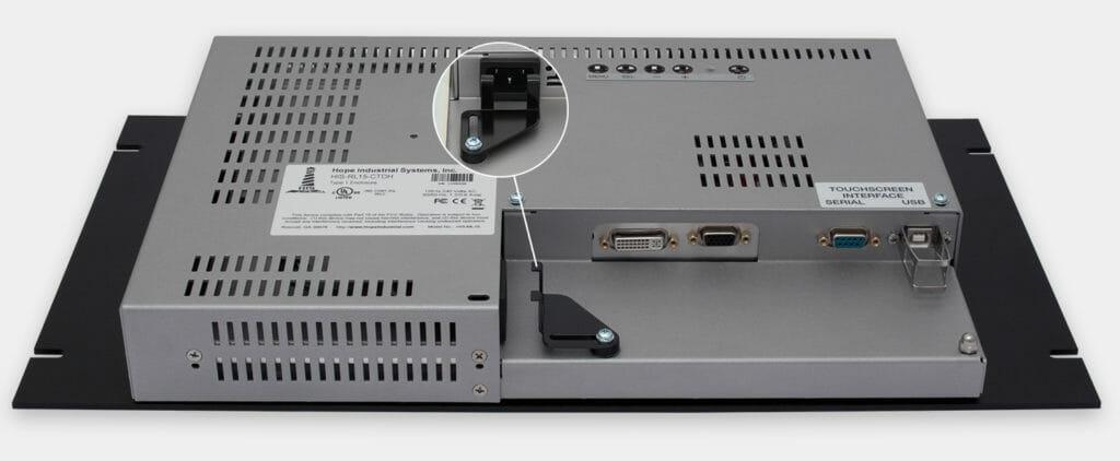 "Monitor industriali da 15"" per montaggio a rack e touchscreen rugged IP20, veduta uscita cavi CA"