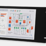 "Monitor industriali da 15"" per montaggio a rack e touchscreen rugged IP20, veduta anteriore e laterale"