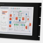 "Monitor industriali da 17"" per montaggio a rack e touchscreen rugged IP20, veduta anteriore e laterale"