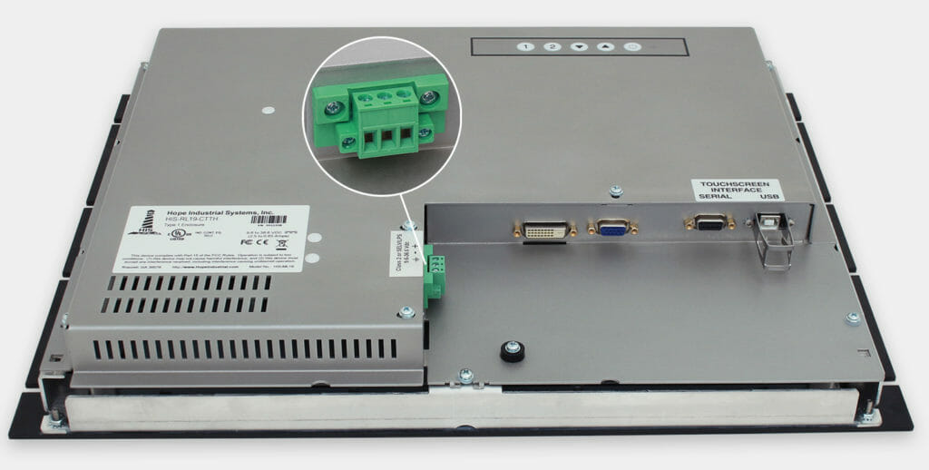 "Monitor industriali da 19"" per montaggio a rack e touchscreen rugged IP20, veduta uscita cavi CC"