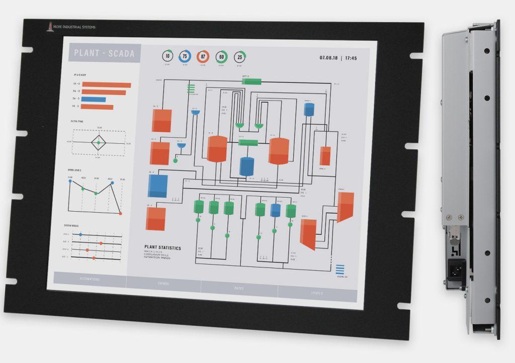 """Monitor industriali da 19"""" per montaggio a rack e touchscreen rugged IP20, veduta anteriore e laterale"""