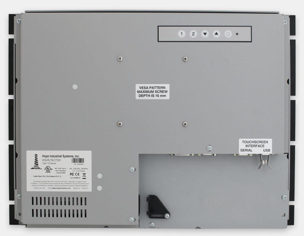 """Monitor industriali da 19"""" per montaggio a rack e touchscreen rugged IP20, veduta posteriore"""