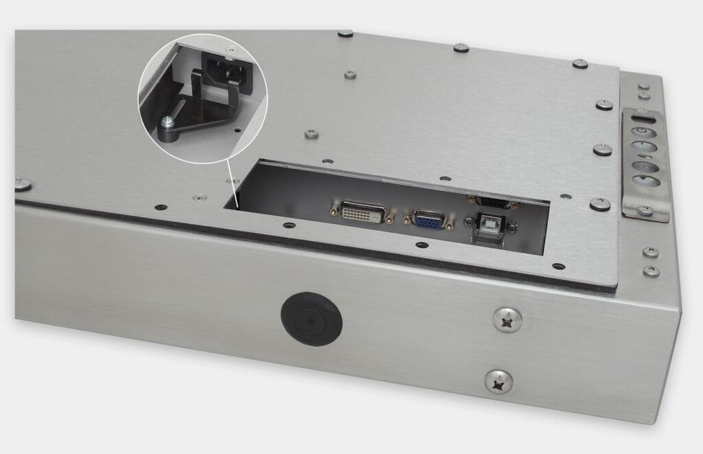 """Monitor industriali da 19,5"""" formato widescreen per montaggio universale e touchscreen rugged IP65/IP66, veduta dell'uscita cavi CA"""