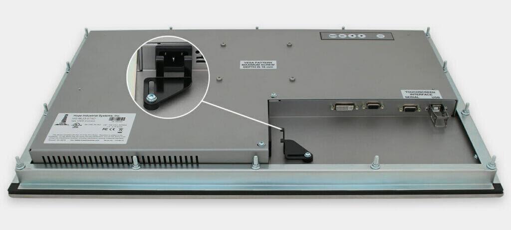 """Monitor industriali da 23"""" formato widescreen per montaggio a pannello e touchscreen rugged IP65/IP66, veduta dell'uscita cavi CA"""
