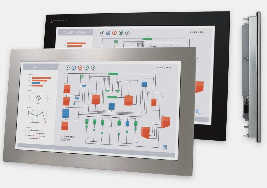 """Monitor industriali da 23"""" formato widescreen per montaggio a pannello e touchscreen rugged IP65/IP66, vedute anteriori e laterali"""