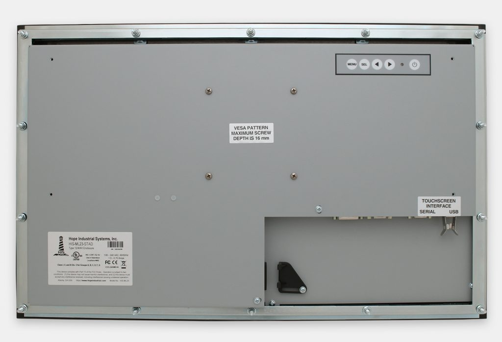 """Monitor industriali da 23"""" formato widescreen per montaggio a pannello e touchscreen rugged IP65/IP66, veduta posteriore"""