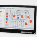 "Monitor industriali da 19,5"" formato widescreen per montaggio a rack e touchscreen rugged IP20, veduta anteriore e laterale"