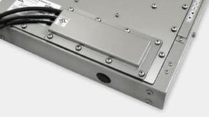 Piastra di copertura per uscita cavi con premistoppa IP65/IP66 o IP22 per monitor industriali per montaggio universale