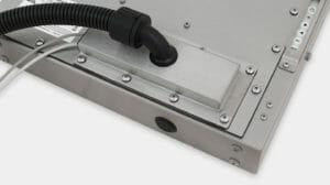 Premistoppa IP65/IP66 con piastra di copertura per uscita cavi per canalizzazione per monitor industriali per montaggio universale