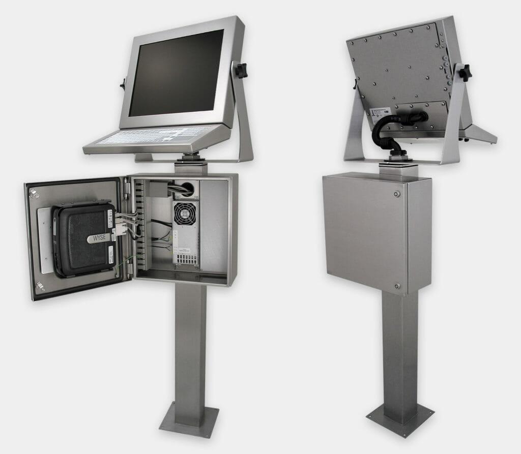 Enclosure industriali per thin client e piccoli PC, veduta anteriore e posteriore