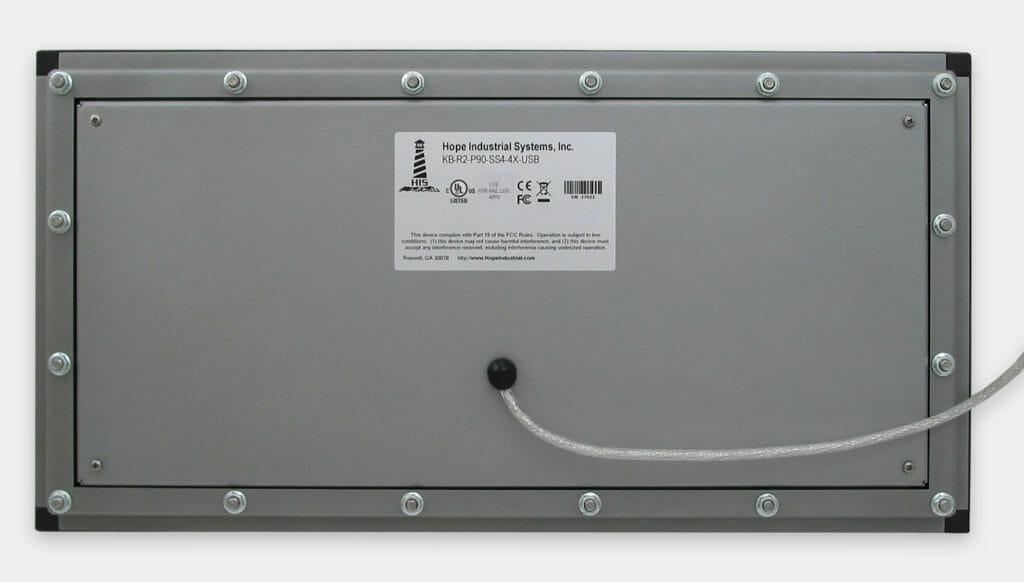 Tastiera industriale per montaggio a pannello, veduta posteriore