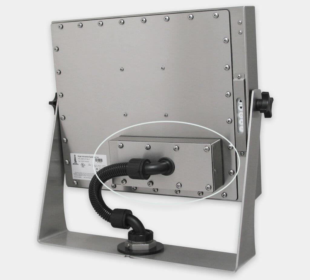 Prolunga KVM industriale da 60 m montata sulla parte posteriore di un monitor per montaggio universale
