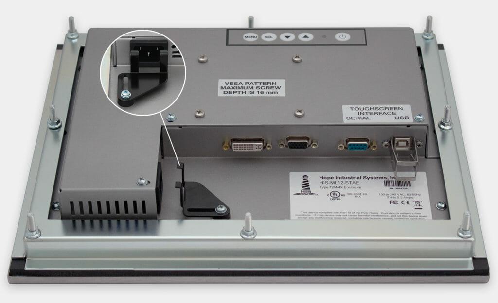 """Monitor industriali da 12"""" per montaggio a pannello e touchscreen rugged IP65/IP66, veduta dell'uscita cavi CA"""