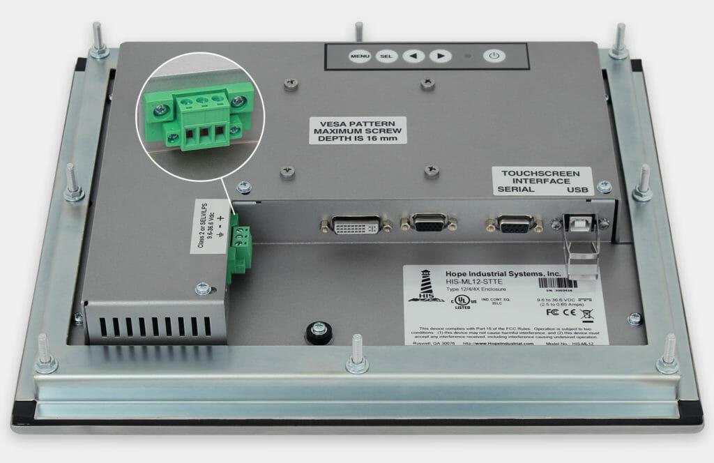 """Monitor industriali da 12"""" per montaggio a pannello e touchscreen rugged IP65/IP66, veduta dell'uscita cavi CC"""