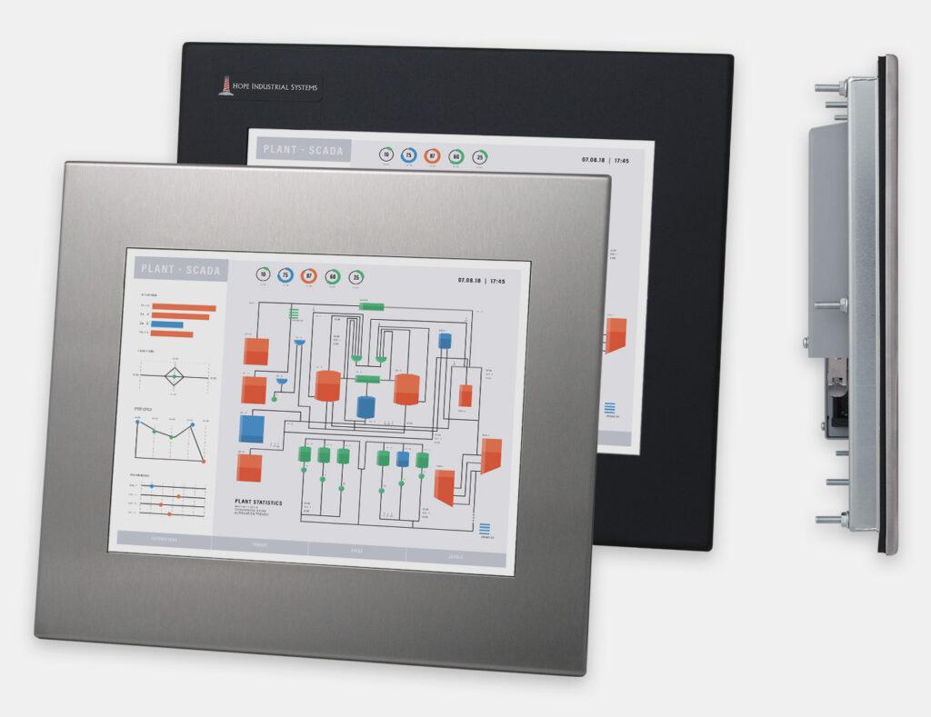 """Monitor industriali da 12"""" per montaggio a pannello e touchscreen rugged IP65/IP66, vedute anteriori e laterali"""