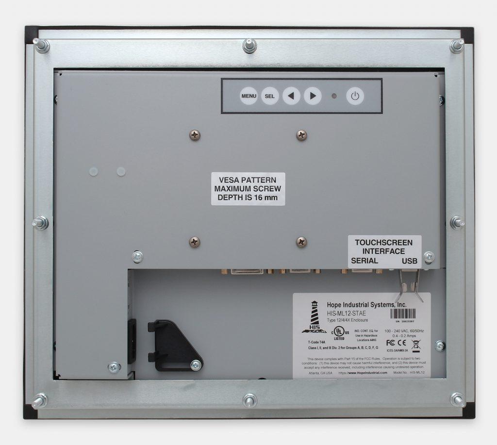 """Monitor industriali da 12"""" per montaggio a pannello e touchscreen rugged IP65/IP66, veduta posteriore"""