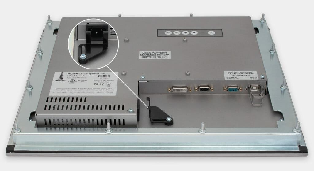 """Monitor industriali da 15"""" per montaggio a pannello e touchscreen rugged IP65/IP66, veduta dell'uscita cavi CA"""