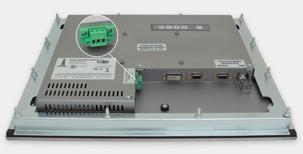 """Monitor industriali da 15"""" per montaggio a pannello e touchscreen rugged IP65/IP66, veduta dell'uscita cavi CC"""