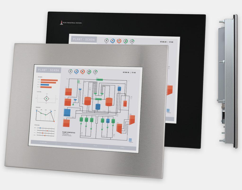 """Monitor industriali da 15"""" per montaggio a pannello e touchscreen rugged IP65/IP66, vedute anteriori e laterali"""
