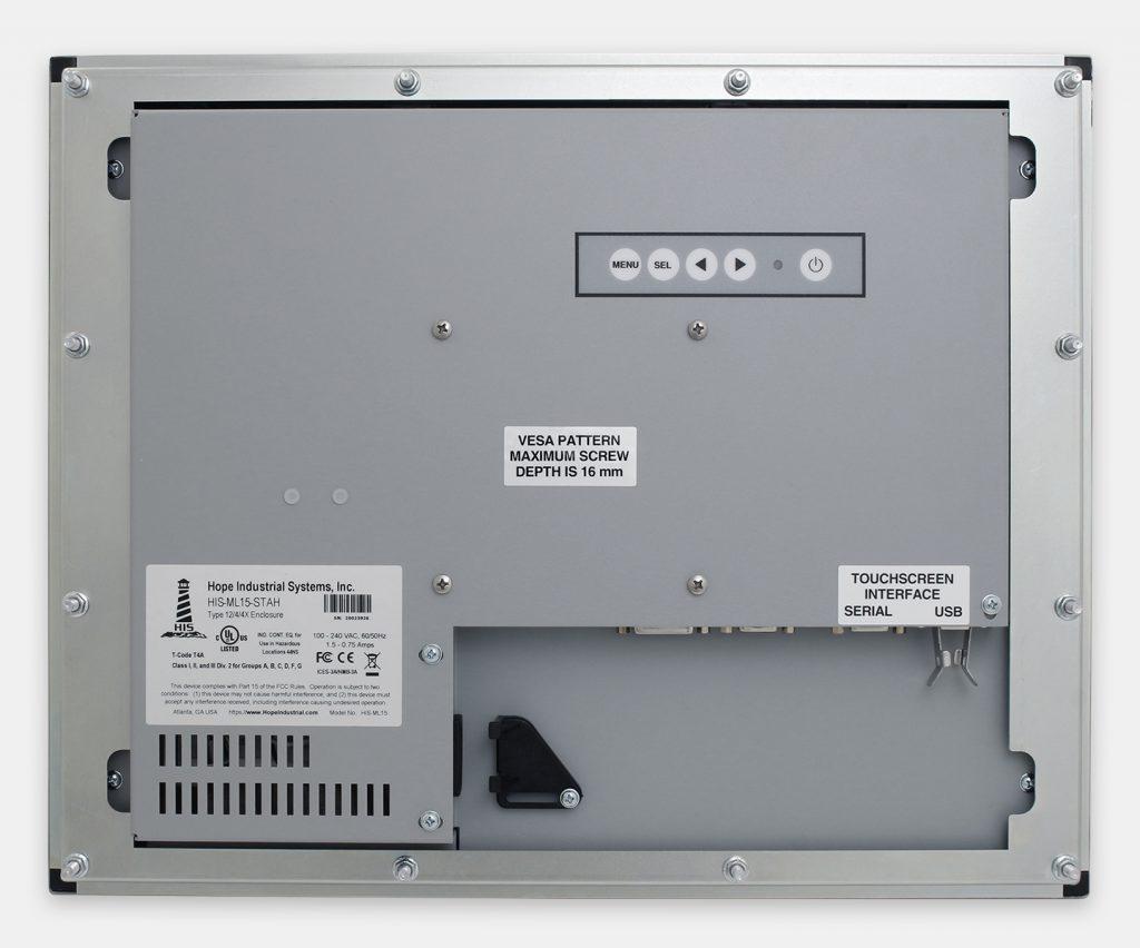 """Monitor industriali da 15"""" per montaggio a pannello e touchscreen rugged IP65/IP66, veduta posteriore"""