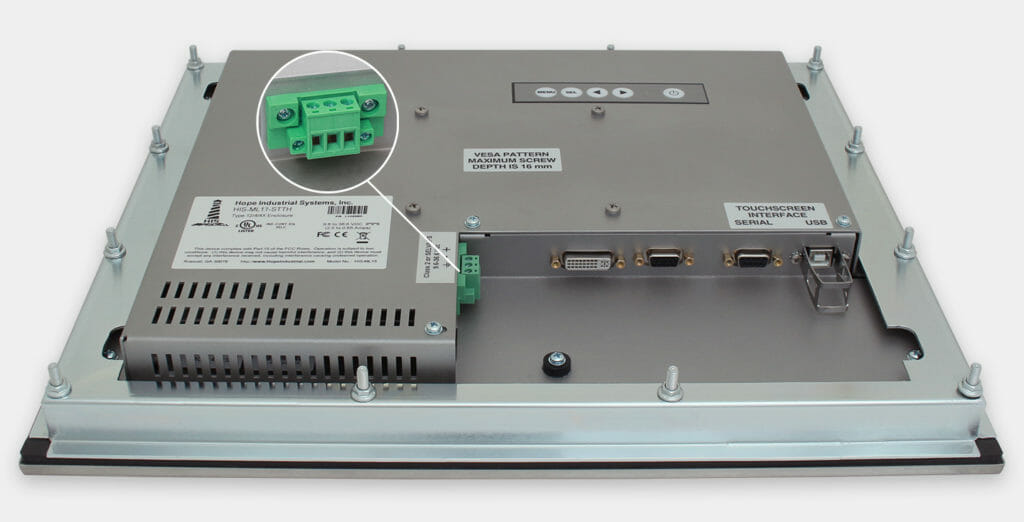 """Monitor industriali da 17"""" per montaggio a pannello e touchscreen rugged IP65/IP66, veduta dell'uscita cavi CC"""