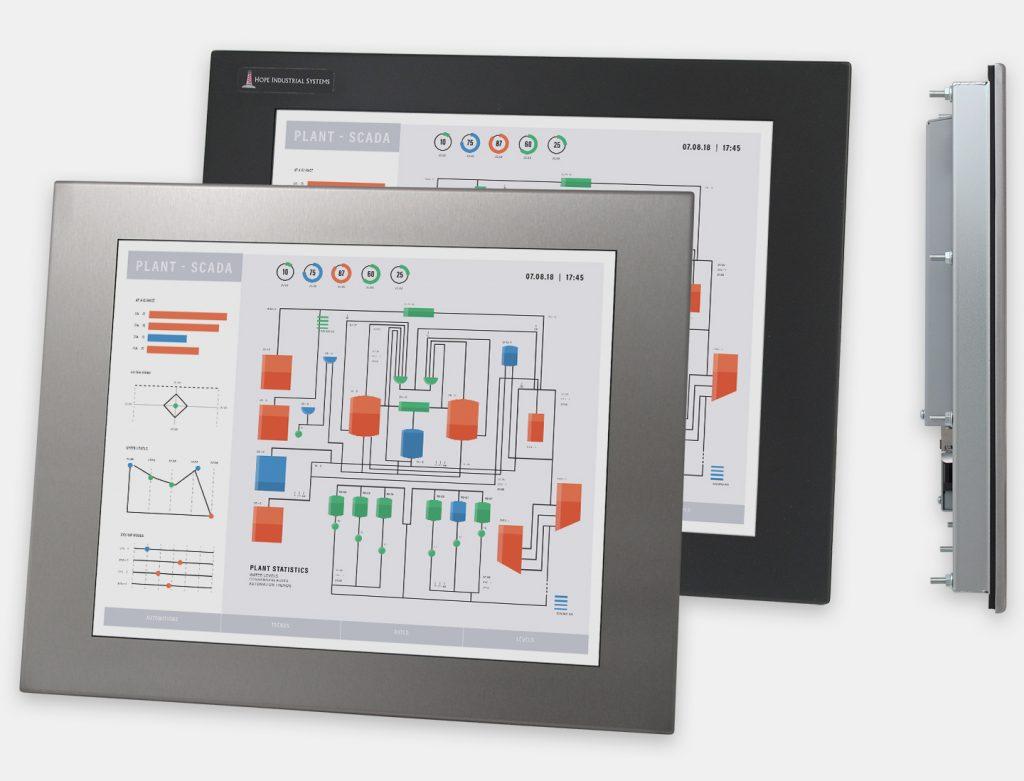 """Monitor industriali da 17"""" per montaggio a pannello e touchscreen rugged IP65/IP66, vedute anteriori e laterali"""