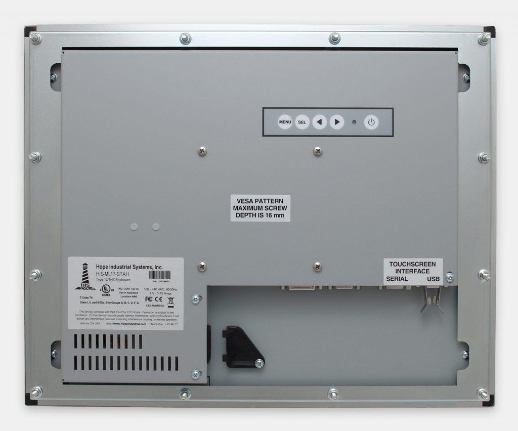 """Monitor industriali da 17"""" per montaggio a pannello e touchscreen rugged IP65/IP66, veduta posteriore"""