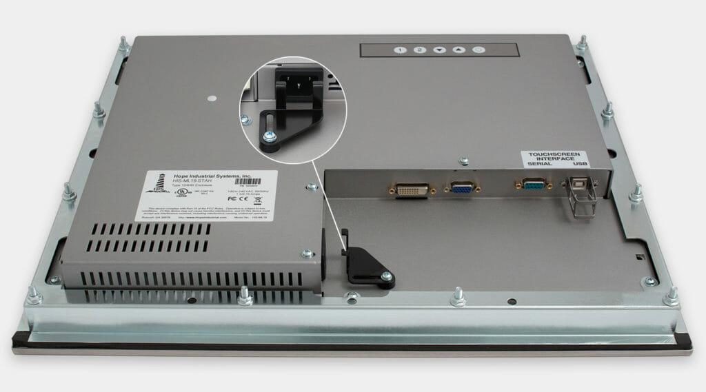 """Monitor industriali da 19"""" per montaggio a pannello e touchscreen rugged IP65/IP66, veduta dell'uscita cavi CA"""
