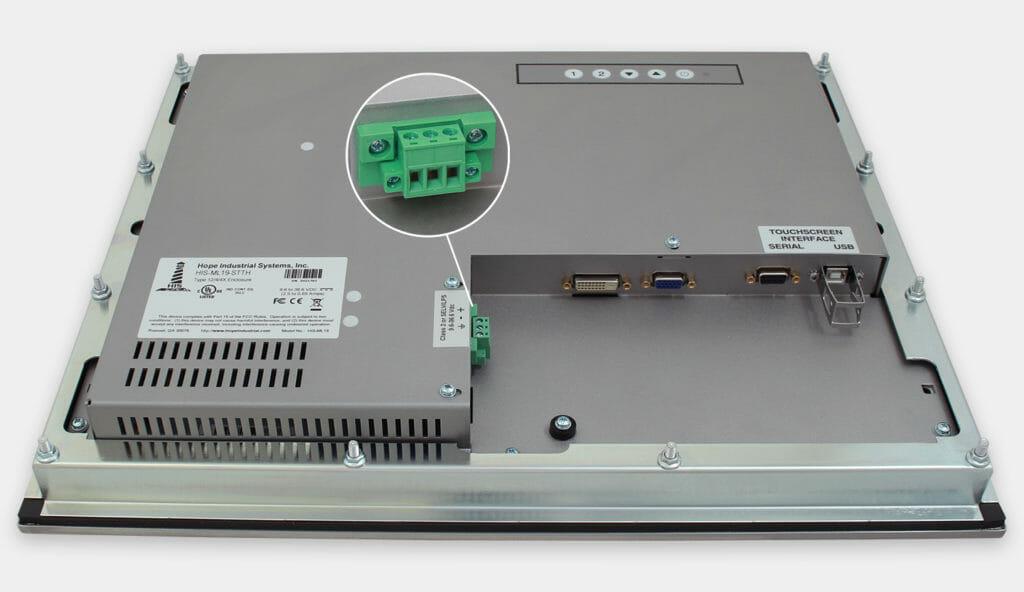 """Monitor industriali da 19"""" per montaggio a pannello e touchscreen rugged IP65/IP66, veduta dell'uscita cavi CC"""