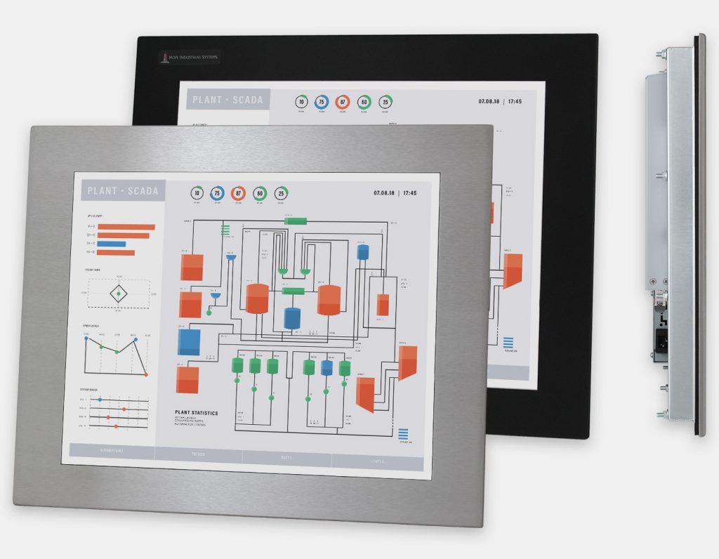 """Monitor industriali da 19"""" per montaggio a pannello e touchscreen rugged IP65/IP66, vedute anteriori e laterali"""
