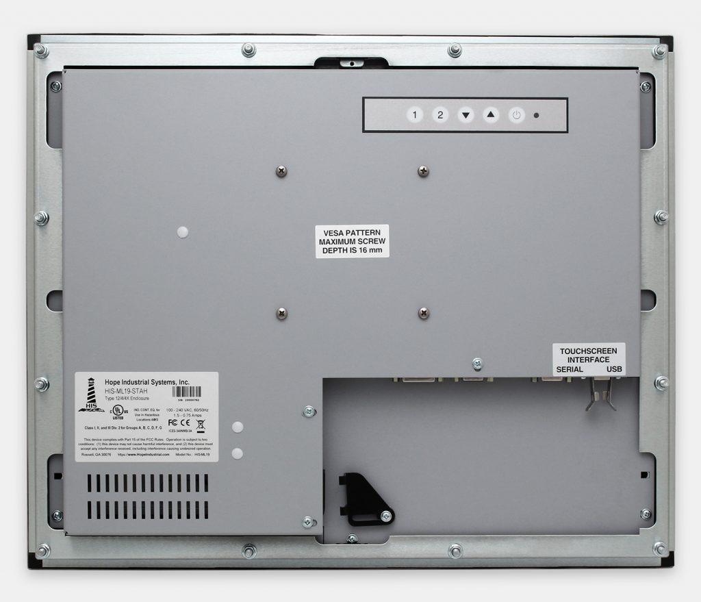 """Monitor industriali da 19"""" per montaggio a pannello e touchscreen rugged IP65/IP66, veduta posteriore"""