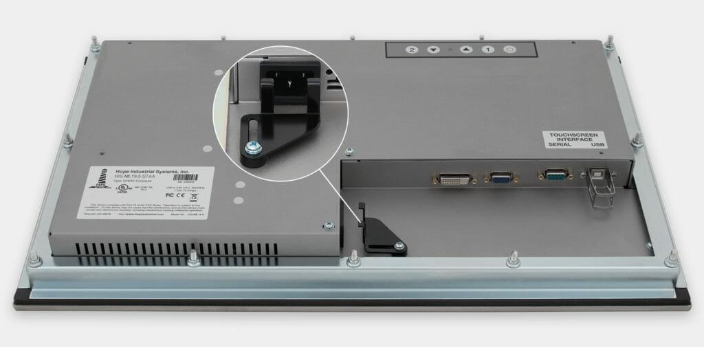 """Monitor industriali da 19,5"""" formato widescreen per montaggio a pannello e touchscreen rugged IP65/IP66, veduta dell'uscita cavi CA"""