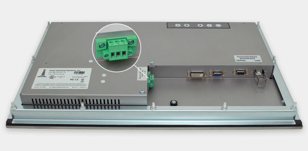 """Monitor industriali da 19,5"""" formato widescreen per montaggio a pannello e touchscreen rugged IP65/IP66, veduta dell'uscita cavi CC"""