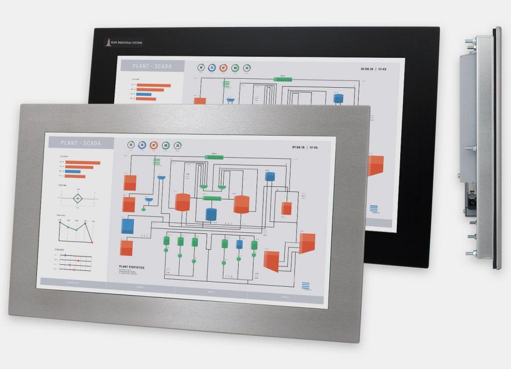 """Monitor industriali da 19,5"""" formato widescreen per montaggio a pannello e touchscreen rugged IP65/IP66, vedute anteriori e laterali"""