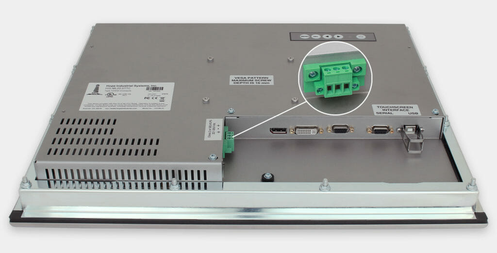 """Monitor industriali da 20"""" per montaggio a pannello e touchscreen rugged IP65/IP66, veduta dell'uscita cavi CC"""