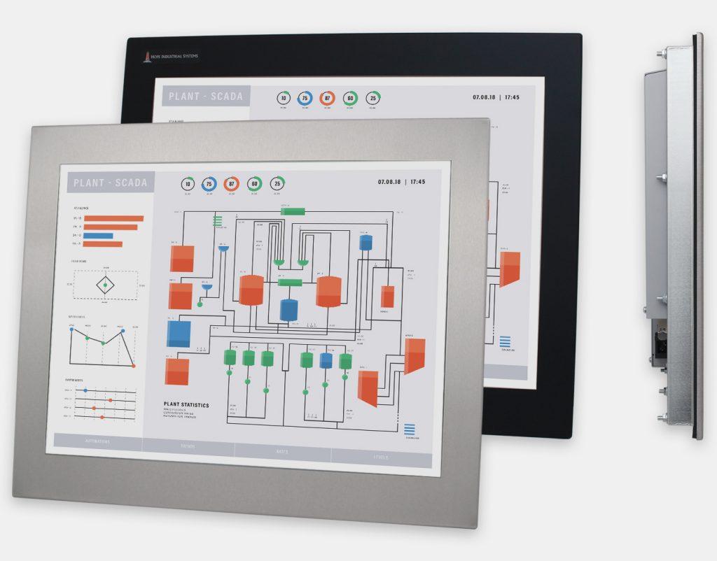 """Monitor industriali da 20"""" per montaggio a pannello e touchscreen rugged IP65/IP66, vedute anteriori e laterali"""