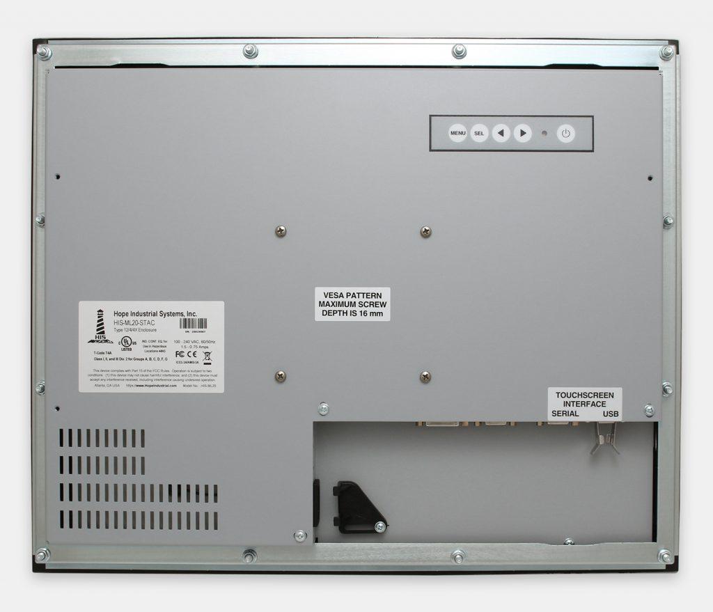 """Monitor industriali da 20"""" per montaggio a pannello e touchscreen rugged IP65/IP66, veduta posteriore"""