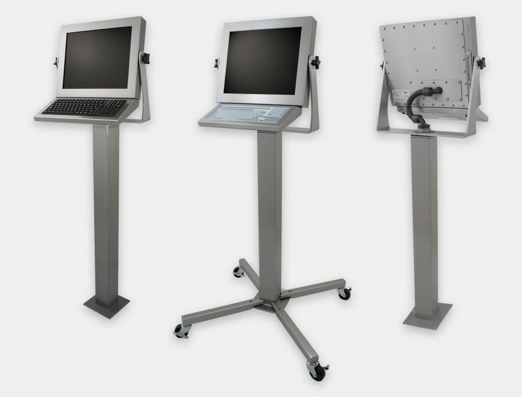 Piedistalli industriali per impieghi gravosi per monitor per montaggio universale e touchscreen, grado di protezione IP65/IP66