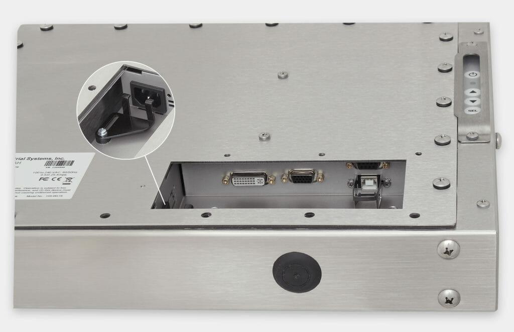 """Monitor industriali da 15"""" per montaggio universale e touchscreen rugged IP65/IP66, veduta dell'uscita cavi CA"""