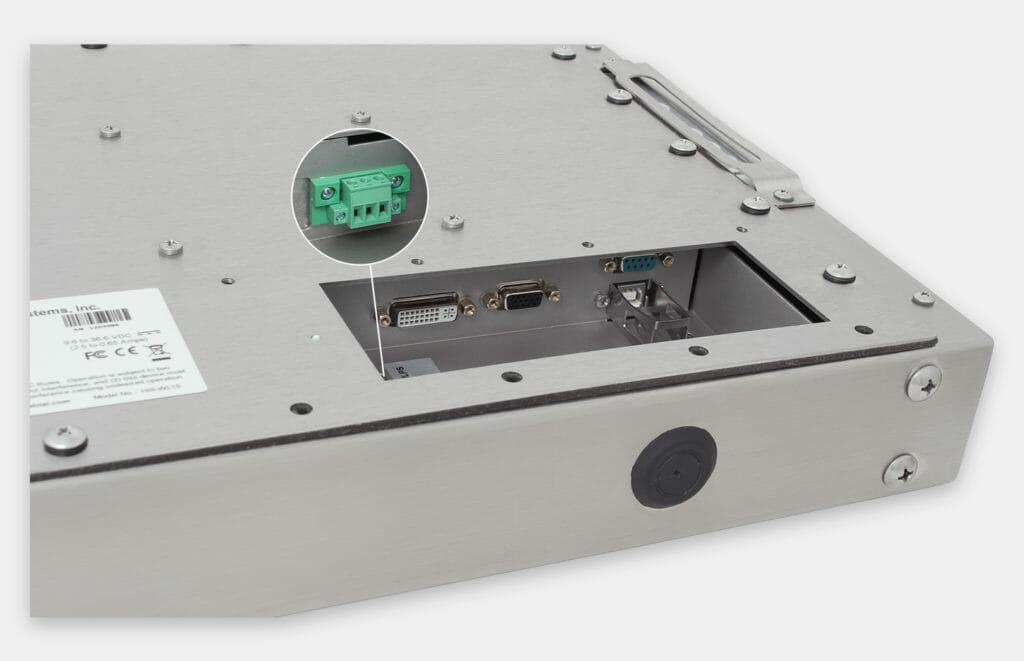 """Monitor industriali da 15"""" per montaggio universale e touchscreen rugged IP65/IP66, veduta dell'uscita cavi CC"""