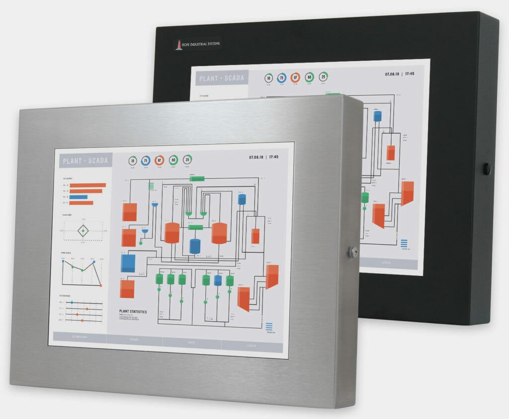 """Monitor industriali da 15"""" per montaggio universale e touchscreen rugged IP65/IP66, veduta anteriore"""