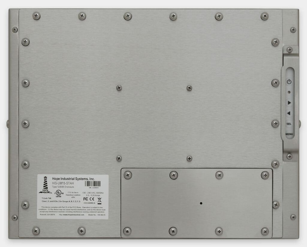 """Monitor industriali da 15"""" per montaggio universale e touchscreen rugged IP65/IP66, veduta posteriore"""